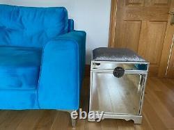 Mirrored Glass Stool Trunk Storage Dressing Table Velvet Padded Seat Vintage