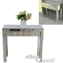 Mirrored Glass Two Drawers Dressing Makeup Table Bedroom Console Make-up Desk