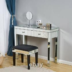 Mirrored Make Up Glass Dressing Table Desk with2 Drawer Console Bedroom Vanity New