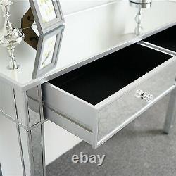 Mirrored Makeup Vanity Table with 2 Drawers Dressing Table Desk Bedroom Mirror