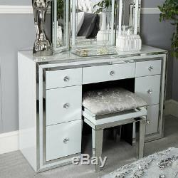 Mirrored dressing table White glass 7 drawer bedroom furniture