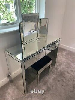 Mirrored glass dressing table, mirror and Stool