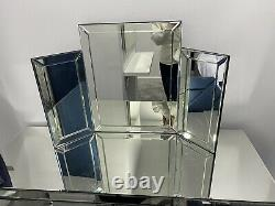 Mirrored glass dressing table set