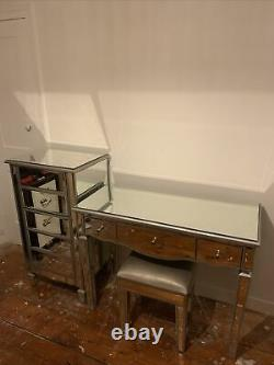 Mirrored glass dressing table set With Chest Of Draws And Seat
