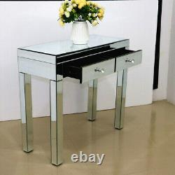 Modern 2 Drawers Dresser Mirrored Dressing Table Console Make-up Vanity Table