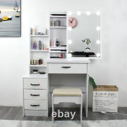Modern Dressing Table Makeup Desk Set withLED Lighted Mirror&Drawer, Stool Bedroom