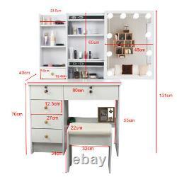 Modern Dressing Table Stool Makeup Desk With5 Drawers Mirror Stool Organiser Set