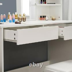 Modern Dressing Table With 2 Drawers 4 Shelves Large Mirror Makeup Set in White UK
