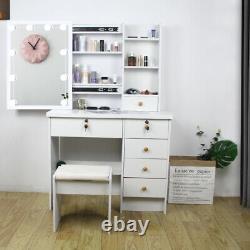 Modern Dressing Table with 10 LED Lights Mirror Makeup Desk Stool Set UK