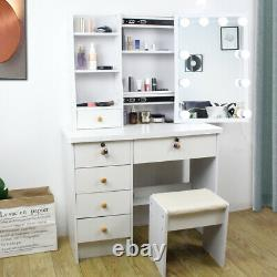 Modern Dressing Table with 6 Drawers Stool LED Lighted Mirror Makeup Set White
