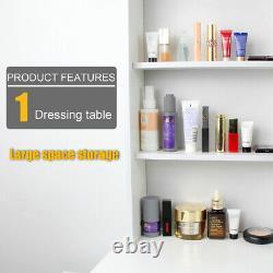Modern Dressing Table with LED Lights Mirror Makeup Desk Stool & 4 Drawers Set