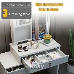 Modern Dressing Table with LED Lights Sliding Mirror Makeup Desk Stool Drawer