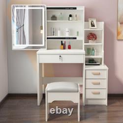 Modern Dressing Table with4 Drawers & Sliding LED Mirror Stool Makeup Desk Set