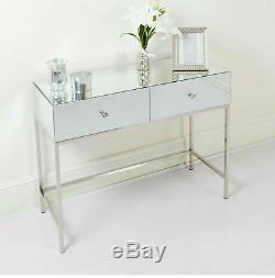 Modern Mirrored Dressing Table 2 Drawers Crystal Handles Mirror Console Table