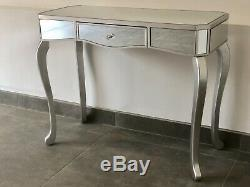 Modern Mirrored Venetian Glass 1 Drawer Dressing Console Table Silver Trim