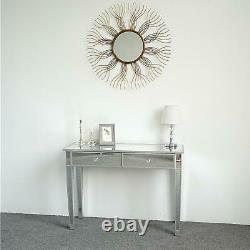Modern Mirrored Venetian Glass 2 Drawer Dressing Console Table Silver