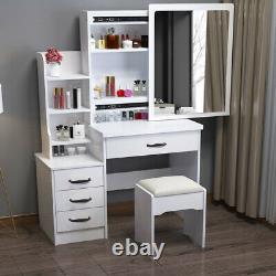Modern White Dressing Table Stool Makeup Desk Sliding Mirror Set & 4 Drawers