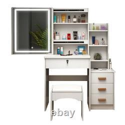 Modern White Dressing Table with LED Lights Sliding Mirror Makeup Desk Stool Set