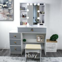 NEW Modern Dressing Table Stool Set Makeup Desk with LED Mirror & Drawers Bedroom