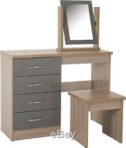 Nevada 4 Drawer Dressing Table Set Grey Including Stool and Mirror