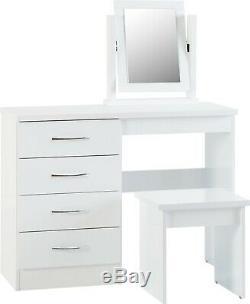 Nevada White Gloss Dressing Table, Stool & Mirror Set