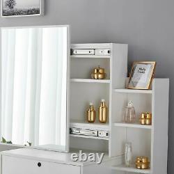 New Dressing Table With Stool Sliding Mirror Drawer Make Up Desk Shelves Bedroom