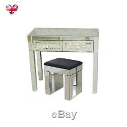 New Mirrored 2 Drawers Dressing Table Bedroom Console Vanity Make-up Desk