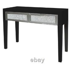 New Stunning Glitz Mirrored Glass Crushed Black 2 Drawer Console Dressing Table