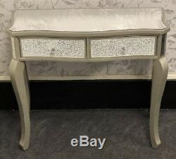 New Stunning Silver Glass Wood Crushed Mosaic 2 Drawer Console Dressing Table