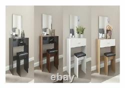 Ottawa Caspian Gloss Dressing Table Stool Mirror Set Black, Oak, Walnut, White