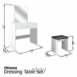 Ottawa Dressing Table Set Unit Makeup Dresser Desk Drawer & Stool Seat