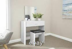 Ottawa Dressing Table Set Unit Makeup Dresser Desk Drawer & Stool Seat White