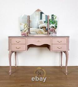 Pink Kidney Shaped Serpentine Dressing Table With Mirrors And Protection Glass