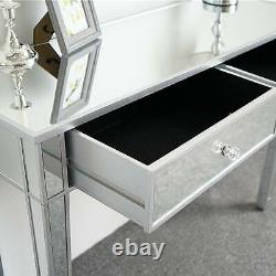 Premium Mirrored Glass Dressing Table Bedroom Bedside Makeup Desk with 2 Drawers