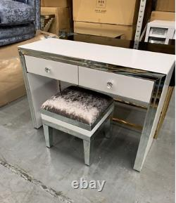 Premium White Mirror 2 Drawer Dressing Table set with Stool