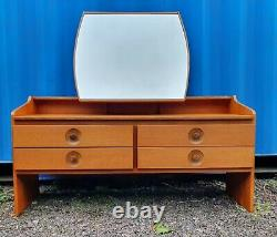 RETRO Mid Century 1970's MEREDEW TEAK dressing table +GLASS TOP WITH MIRROR