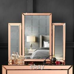 Rose Gold Desktop Tri-Fold Mirror Vanity Bevelled Design Makeup Dressing Table