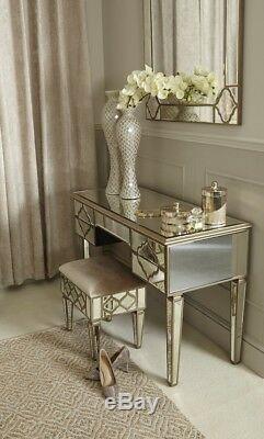 Sahara Antique Gold Mirrored Glass Upholstered Vanity Dressing Stool Bedroom