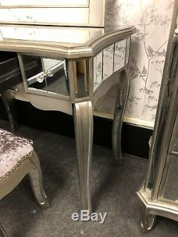 Set Of Antique Style Mirrored Glass Argente Dressing Table With Stool & Mirror