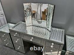Silver Floating Crystal Mirrored Glass 7 Drawer Dressing Table and Mirror Set