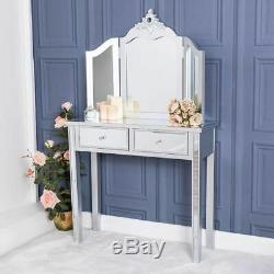 Silver Mirrored Dressing Table And Triple Mirror Venetian Glass Chic Bedroom