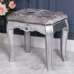 Silver Mirrored Dressing Table Triple Mirror Stool Venetian Glass Furniture Set