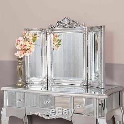 Silver Mirrored Dressing Table Triple Ornate Mirror Venetian Glass Chic Bedroom