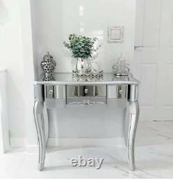 Silver Mirrored Dressing Table with Drawers Glass Venetian Bedroom Hallway Chic