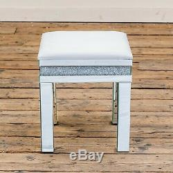Silver Mirrored Glass Crushed Diamond Glitzy White Dressing Table Vanity Stool