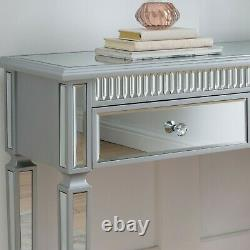 Silver Wood Trim Mirrored Glass 2 Drawer Console Hall Dressing Table