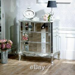 Silver mirrored bedroom furniture chest of drawers dressing table bedside chests