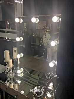 Smoked Glass 9 Dimmable LED Lights Bulbs Dressing Table Vanity Bedroom Mirror