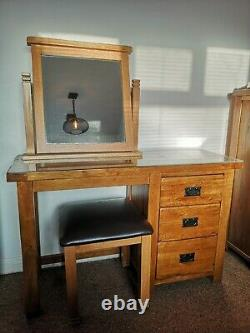 Solid Oak Dressing Table, Mirror, Stool and Glass Top