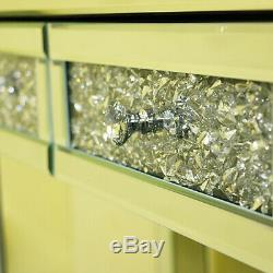 Sparkling Mirrored Glass Dressing Table Console 2 Drawers Dresser-uk